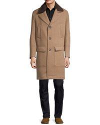 Brunello Cucinelli Men's Shearling Collar Cashmere Coat - Tan - Size 50 (40) - Natural