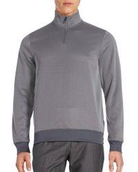 Perry Ellis - Textured Three-quarter Zip Sweatshirt - Lyst
