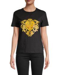 Versace Women's Baroque Logo Graphic T-shirt - Black Gold - Size Xxs