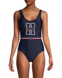 Tommy Hilfiger Logo Graphic Belted One-piece Swimsuit - Blue