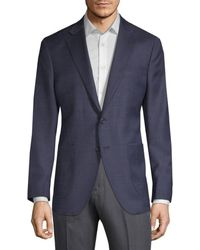 Saks Fifth Avenue Men's Textured Wool & Silk-blend Sportcoat - Blue - Size 38 S