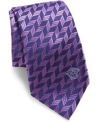 Versace - Textured Medusa Silk Tie - Lyst