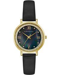 BCBGMAXAZRIA Ladies Black Leather Strap Watch With Dark Mop Dial, 33mm