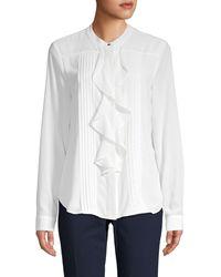 Calvin Klein Mandarin Collar Shirt - White
