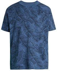 Sol Angeles Men's Pacific Palm-print Crew T-shirt - Pacific - Size L - Blue