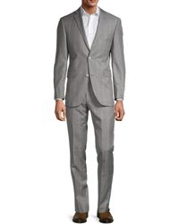 Saks Fifth Avenue Windowpane Wool Suit - Metallic
