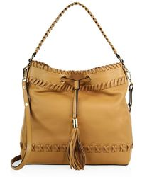 MILLY - Astor Whipstitch Leather Bucket Bag - Lyst