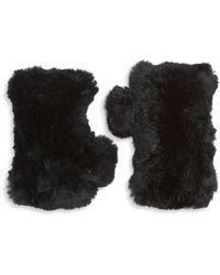 Surell Women's Dyed Rabbit Fur Fingerless Gloves - Black