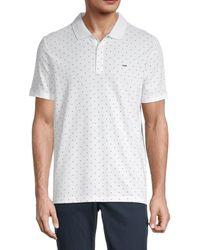 Michael Kors Men's Dot-print Polo - White - Size M