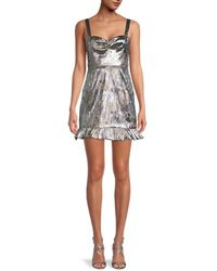 Cynthia Rowley Women's Ruffled Mini Dress - Metallic - Size 0
