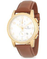 Bruno Magli - Round Chronograph Leather-strap Watch - Lyst