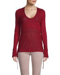 Love Scarlett Ribbed Self-tie Sweater - Red