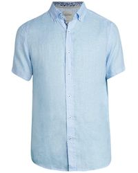 Report Collection Linen Button-up Shirt - Blue