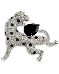 CZ by Kenneth Jay Lane Animal Trend Rhodium-plated & Cubic Zirconia Pin - Multicolour