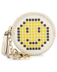 Anya Hindmarch Pixel Smiley Leather Coin Purse - Natural