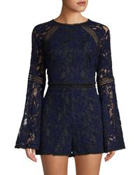 Cupcakes And Cashmere Cally Chenille Lace Romper - Blue