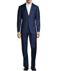 John Varvatos Men's Standard-fit Micro-check Wool Suit - Navy - Size 40 R - Blue