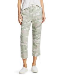 Mother The Shaker Mid-rise Crop Fray Hem Camo Racing Stripe Trousers - Green