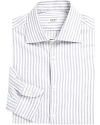 Isaia College Striped Regular-fit Dress Shirt - White