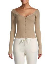 Lea & Viola Women's Button-front Rib-knit Top - Black - Size Xs