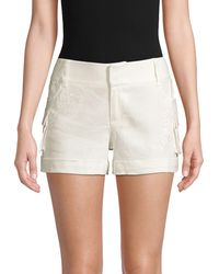 Alice + Olivia Embroidered Linen-blend Cargo Shorts - White