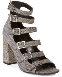 Saint Laurent - Babies Multi-strap Lurex Block-heel Sandals - Lyst