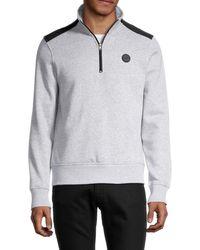 Michael Kors Men's Two-tone Quarter-zip Pullover - Heather Grey - Size S
