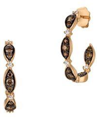 Le Vian Women's 14k Strawberry Gold Vanilla Diamonds® & Chocolate Diamonds Open Hoop Earrings - Brown