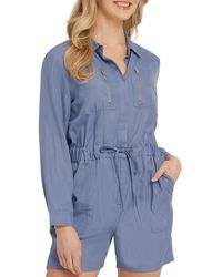 DKNY Self-tie Romper - Blue