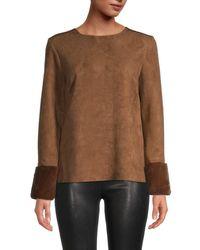 T Tahari Women's Faux Fur & Faux Suede Top - Black - Size L