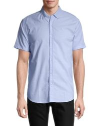 Report Collection Slim-fit Dot-print Shirt - Blue