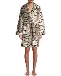 Kendall + Kylie Zebra Fuzz Trench Robe - White