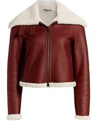 Theory Shearling Moto Jacket - Red