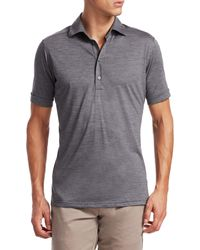 Saks Fifth Avenue Collection Solid Active Polo - Grey