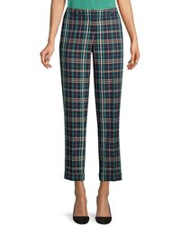 BOSS Tocanes Check Plaid Ankle Trousers - Blue