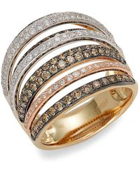Effy 14k Rose Gold Black Jade & Diamond Circle Earrings