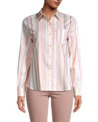 Saks Fifth Avenue Classic Button-down Linen-blend Shirt - Pink