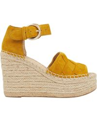 Marc Fisher Adalla Basketweave Suede Platform Wedge Sandals - Pink
