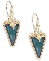 Armenta Old World Diamond, Sapphire, Malachite, Rainbow Moonstone, 18k Yellow Gold & Sterling Silver Earrings - Metallic