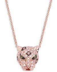 Effy 14k Rose Gold, Diamond & Green Sapphire Panther Pendant Necklace