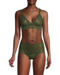 Hanky Panky Women's Floral Lace Bralette - Woodland - Size Xs - Green