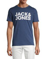 Jack & Jones Men's Corp Logo Graphic T-shirt - Denim Blue - Size M