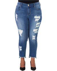 Seven7 - Plus Distressed Hi-lo Skinny Jeans - Lyst