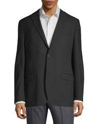 DKNY Tonal Mini Check Wool Blazer - Black