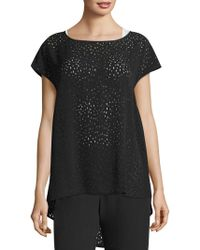 Eileen Fisher - Confetti Laser-cut Silk Top - Lyst