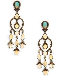 Bavna - Opal, Champagne Diamond & Sterling Silver Chandelier Earrings - Lyst