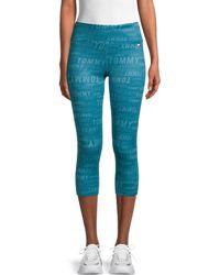 Tommy Hilfiger Monogram-print Cropped Active Leggings - Blue