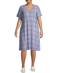 Premise Studio Women's Plus Printed T-shirt Dress - Blue Pink - Size 1x (14-16)
