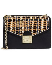 Karl Lagerfeld Woven Plaid Flap Envelope Crossbody Bag - Black