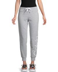 Calvin Klein Logo Cotton-blend Jogger Trousers - Grey